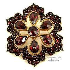 Victorian BOHEMIAN GARNET Rolled Gold Filled Rose Cut FLOWER Tiered Brooch Pin #Unsigned