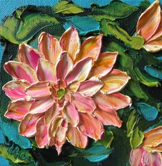 Wall Decor Impasto oil painting Original Palette Knife Floral Painting rose pink Dahlia ART
