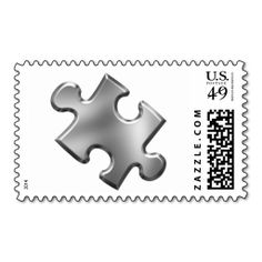 Autism Puzzle Piece Silver Postage Stamp. It is really great to make each letter a special delivery! Add a unique touch to invites or cards with your own photos or text. Just click the image to learn more!