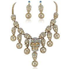 EVER FAITH Halloween Skull Necklace Earrings Set Clear AB Austrian Crystal Gold-Tone  http://www.amazon.com/dp/B00AFCL0T8/ref=cm_sw_r_pi_dp_AckUvb0VWEG6B