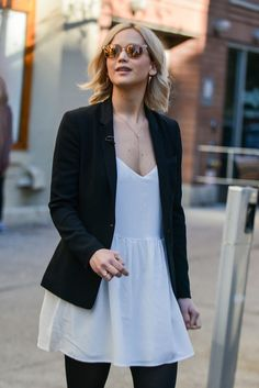Photos: Jennifer Lawrence Filming With Diane Sawyer in NYC
