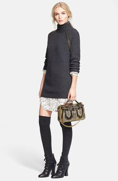 "Pin for Later: Not-Your-Average Sweater Dresses For Not-So-Average Girls The Mixed-Material Sweater Dress Tory Burch ""McKenna"" Turtleneck Sweater Dress ($550)"