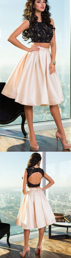 Lace Two-Piece Homecoming Dress, Crop Pleated Homecoming Dress,Short Prom Dress with Satin Skirt,Elegant Evening Dresses