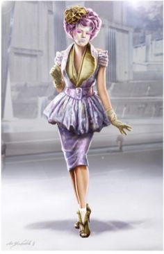 "Concept art for Effie Trinket in hostess outfit from ""The Hunger Games"" (2012) by Christian Cordella."