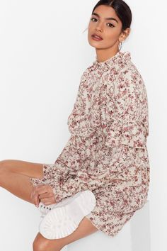 NastyGal at marie claire edit Nice Dresses, Summer Dresses, Royal Engagement, White Mini Dress, Long Sleeve Mini Dress, Pop Fashion, Nasty Gal, Floral Prints, High Neck Dress