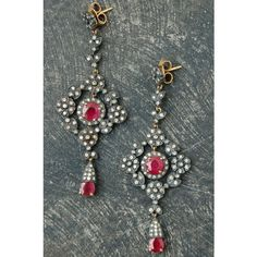 Rona Pfeiffer Sterling, Diamond, Ruby 18k Gold Earrings