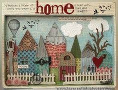 Happy Village by Anna-Karin of Layers of ink - houses cut with Sizzix Tim Holtz Artful Dwellings die, then embossed with embossing folders and painted, inked and sanded #tutorial