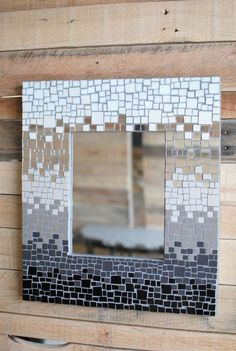 Black and White Mirror- Mosaic Wall Mirror- Stained Glass Mosaic Mirror Frame on Etsy, Mirror Mosaic, Diy Mirror, Mosaic Wall, Mosaic Glass, Mosaic Tiles, Stained Glass, Wall Mirror, White Mirror, Mirror Bathroom