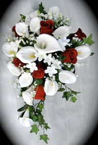 Silk flower red rose and white calla lily bouquet.