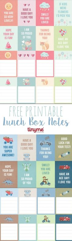 Free Printable Lunch Box Notes by tinyme.com for TodaysCreativeLif... | Download your free printable lunch box notes. Send a sweet message to your kids!