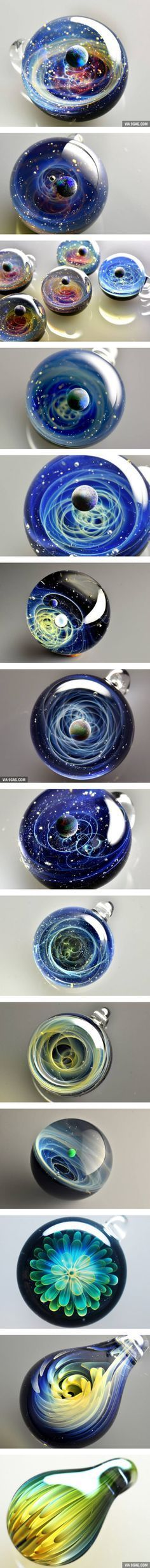 Extraordinary Space Glass With Solar Systems And Flowers Encased In It (By Satoshi Tomizu)