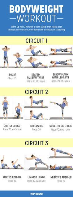 Bodyweight Workout For Women | POPSUGAR Fitness http://www.popsugar.com/fitness/Bodyweight-Workout-Women-36274609?crlt.pid=camp.QQwBmcuV9qsb