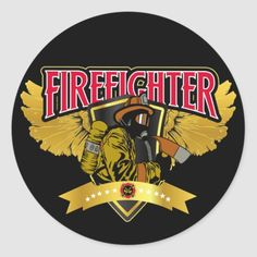Firefighter Wings Classic Round Sticker  cricut firefighter, firefighter christmas ornaments, firefighter babies #firefighter #bunkergearblanket #firefighterwife, 4th of july party