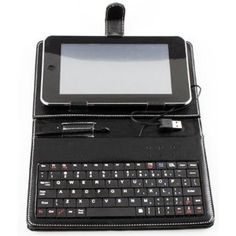 Products I Love / HDE 7 Tablet Stand with USB Keyboard - Black Faux Leather Carrying Case