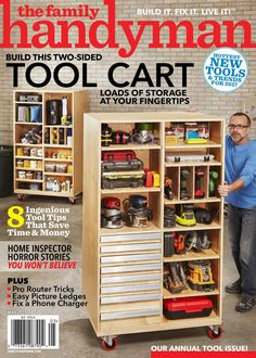When it comes to home improvement, you need information you can trust. Inside each issue of The Family Handyman, you'll find see-and-solve expert repair techniques, a variety of projects for every room and step-by-step, do-it-yourself photos. Garage Workshop Organization, Garage Tool Storage, Diy Organization, Diy Garage Storage Cabinets, Workshop Cabinets, Tool Storage Cabinets, Workbench Organization, Building Garage Shelves, The Family Handyman