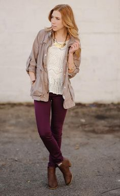 How to Wear Burgundy Jeans or Pants