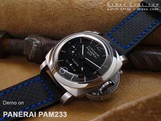 Panerai PAM233 on 24mm Pre-Vendome style Watch strap *Sewn in buckle* Carbon Fiber Leather [LA2422001BLRA]