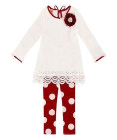 Mia Belle Baby White Lace Lisette Tunic & Polka Dot Leggings - Toddler & Girls | zulily