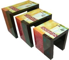 Hand-Painted Lacquer Nest of Tables