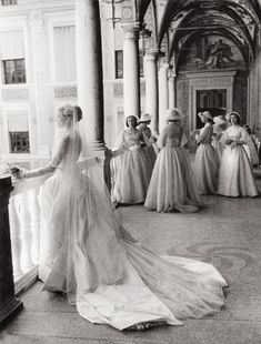 Grace Kelly and her bridesmaids, April 19, 1956. Photographed by Howell Conant.
