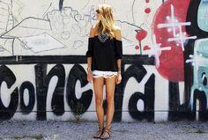 Cut-Offs & Off-Shoulder Top #fashionjackson
