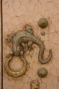 Lizard door knocker on pale peach door