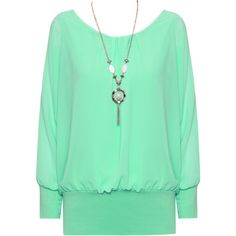 Zia Necklace Chiffon Sheer Blouse ($23) ❤ liked on Polyvore featuring tops, blouses, green, long sheer blouse, chiffon top, sheer top, sheer sleeve top и green blouse