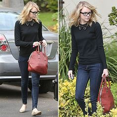 Emma Stone Makes Black-Tie Street Chic (and Totally Adorable).  Bow tie sweater