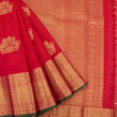 Handloom Pure Zari Bridal Kanjivaram Silk Saree With Lion Motifs & Hamsa Border 10023236 - AVISHYA.COM