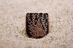 Enamel Pin Cabin in Night Forest Mountain forest Home Night Forest, Pin And Patches, Hand Illustration, Pin Badges, Forest Mountain, Dark Forest, Lapel Pins, Light In The Dark, Rings For Men