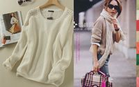 Small loose casual cutout patchwork knitted shirt 2013 new autumn freee shipping zt0670