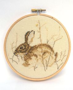 Items similar to Bunny Rabbit, Natural Woodland Colors Hand Stitched Hoop Art - Small on Etsy Cross Stitch Cushion, Cross Stitch Art, Cross Stitch Animals, Cross Stitching, Cross Stitch Embroidery, Hand Embroidery, Modern Cross Stitch Patterns, Needlepoint, Couture