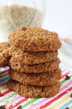 A healthier version of my kids' favourite snack; Chocolate Chip Cookies! Made with wholemeal flour, oats and reduced sugar.