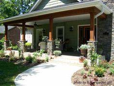Craftsman style porch pillars with stone (or brick? Craftsman Front Porches, Craftsman Style Porch, Front Porch Columns, Porch Pillars, Front Porch Design, Craftsman House Plans, Craftsman Homes, Bungalow Porch, Craftsman Door