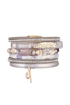Bracelet stardust  gris  strass  cristal  triple tour   fermoir dore