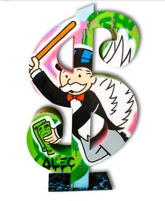 Alec Monopoly - Dollar Monooly with a bat - Eden Fine Art Gallery Banksy Art, Graffiti Artwork, Cuadros Pop Art, Dope Cartoons, Lion Art, Dope Art, Fine Art Gallery, Artist At Work, New Art