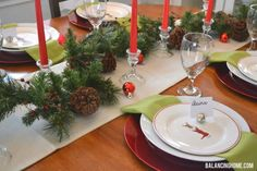 Christmas table and jingle bell place card holder.