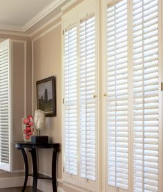Bwood Plantation Shutters With 2 Louvers In Eggshell Painted Finish Br Hinges Next Day Blinds Shutter Up