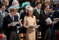 Prince Harry, Catherine, Duchess of Cambridge and Prince William, Duke of Cambridge during a service of thanksgiving to mark the Queen's Diamond Jubilee