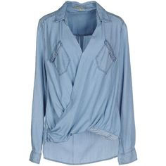 Pepe Jeans Denim Shirt (450 MYR) ❤ liked on Polyvore featuring tops, blue, denim top, long sleeve shirts, denim snap shirt, denim snap button shirt and snap button shirts