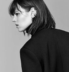 Nostalgia, Freja Beha Erichsen, Medium Long, Fringes, New Life, Preppy, Portrait Photography, Make Up, Black And White