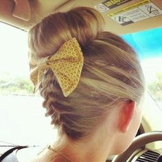 Back weaved bun with yellow bow