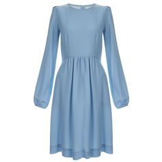 Goat Baylee Blue Wool-Crepe Dress (14.215 RUB) ❤ liked on Polyvore featuring dresses, blue, blue fit-and-flare dresses, longsleeve dress, long sleeve flare dress, fitted flare dress and fitted dresses