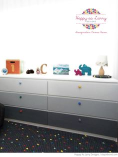 Bondville: Caleb's grey nursery with pops of colour - IKEA MALM drawer hack