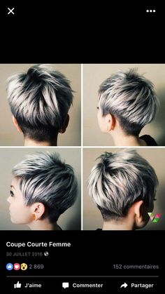 20 Trendy graue Frisuren – graue Haare Trend & Balayage Hair Designs - All About Hairstyles Long Pixie Cuts, Short Pixie Haircuts, Short Hair Cuts For Women, Pixie Hairstyles, Short Hair Styles, Short Cuts, Hairstyles Haircuts, Short Female Hairstyles, Fringe Hairstyles
