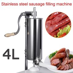 56.28$  Buy now - http://ali12a.worldwells.pw/go.php?t=32687362323 - 1pc 4L Stainless steel Commercial Household Manual Vertical Sausage Filler Machine with 1.3,1.9,2.2 CM plastic pipe  56.28$