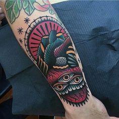 Amazing Three Eyed Neo Traditonal Tattoo Mens Forearms