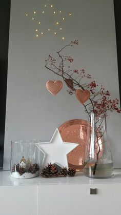 Copper Christmas. Try an alternative look this Christmas with warm Copper accents. We love these hanging heart decorations #Christmas