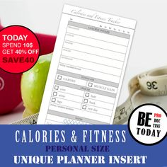 PERSONAL Size Planner Printable, Fitness Tracker, Food Diary, Calorie Log, Filofax Personal, Kikki K Medium, Fitness Bundle, Weight Loss DIY