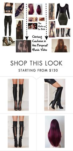 """Chrissy Costana in the Fireproof Music Video"" by codee-fox ❤ liked on Polyvore featuring Jeffrey Campbell"
